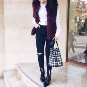 SUZY SHIER Maroon Faux Fur High Collar Vest